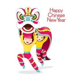 Boys With Lion Dancing vector image
