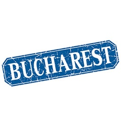 Bucharest blue square grunge retro style sign vector