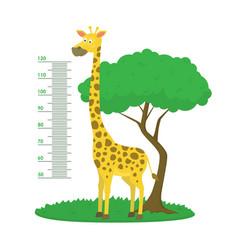 cartoon meter wall with giraffe and tree green vector image