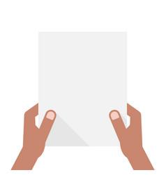 dark-skinned hands holding sheet of paper vector image vector image