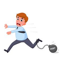 businessman cartoon carry debt financial vector image vector image