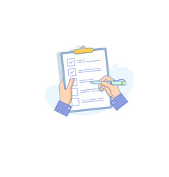 businessman holding checklist and pencil flat vector image vector image