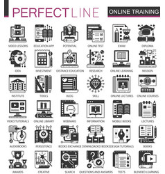 online modern education black mini concept icons vector image vector image