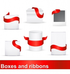 red ribbons on boxes vector image