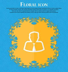 Avatar Floral flat design on a blue abstract vector image