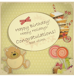 bear candy and cake vector image