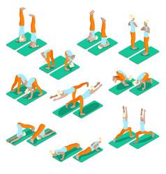isometric woman yoga exercices set vector image