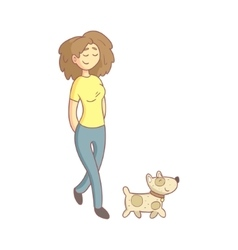 Woman Walking The Dog vector image vector image