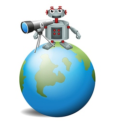 A robot with a telescope above the planet earth vector image