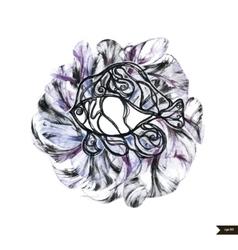 Abstract hand drawn watercolor fish vector