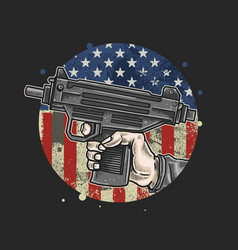 American hand use weapon vector