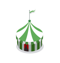 Amusement park striped tent isometric 3d element vector