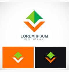 Arrow shape colored business logo vector