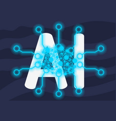 artificial intelligence themed neon light design vector image
