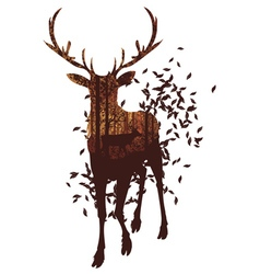 Autumn Forest Landscape and Deer3 vector