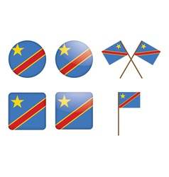 badges with flag of DR Congo vector image