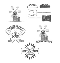 baked bread oven fresh shop logos and pictures vector image