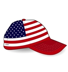 Baseball cap with usa flag on white background vector