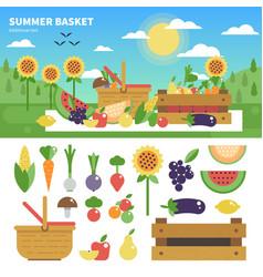 Basket full fresh fruits and vegetables vector