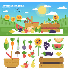 basket full of fresh fruits and vegetables vector image