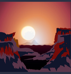 beautiful landscape purple sunset in mountains vector image
