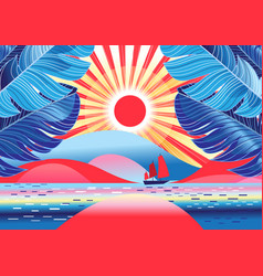 beautiful landscape with palm trees and sea vector image
