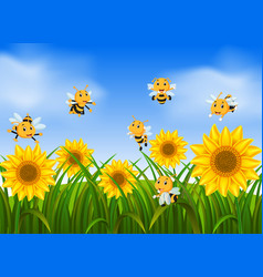 bees flying in sunflower garden vector image