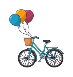 bicycle retro with balloons party vector image