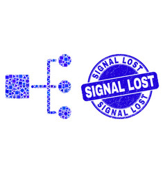 Blue scratched signal lost stamp and hierarchy vector