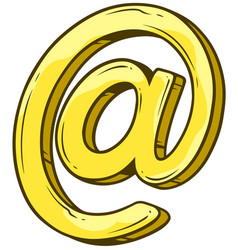 Cartoon golden e-mail sign vector