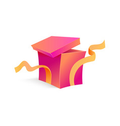 cartoon open present gift box ribbon bow vector image