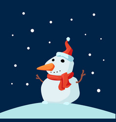 christmas cute little cheerful snowman with red vector image