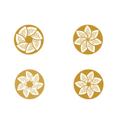 circle flower icon logo template vector image
