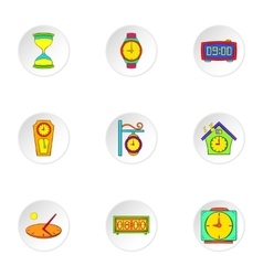 Clock icons set cartoon style vector image