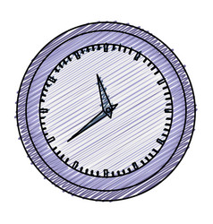 Color pencil graphic of wall clock in purple thick vector
