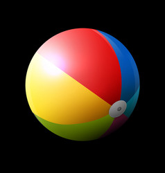 colorful inflatable beach ball on dark background vector image