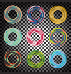colorful transparent rosette or circle set vector image