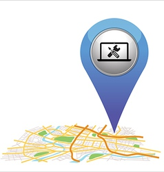 computer pointer on map location vector image