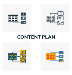 content plan icon set four elements in diferent vector image