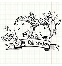 Couple of acorn vector image