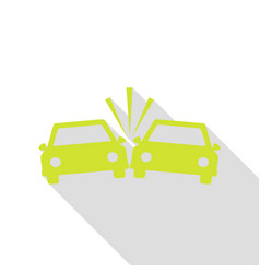 crashed cars sign pear icon with flat style vector image