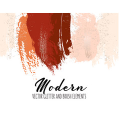 Creative red orange brush strokes glitter vector