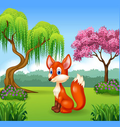 Cute fox sitting in the forest vector image