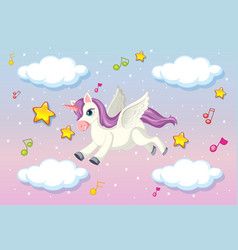 cute pegasus with purple mane flying in the vector image