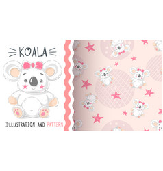 cute teddy koala - seamless pattern vector image