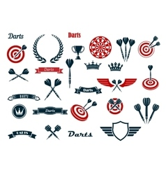 Darts game ditems and heraldic elements vector