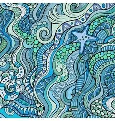Decorative marine sealife ethnic background vector
