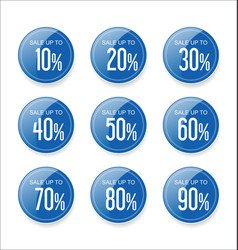discount sale stickers blue collection vector image
