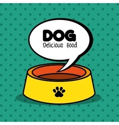 Dog delicious food plate clean green dot vector