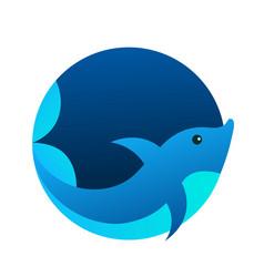 dolphin sea animal circle logo vector image